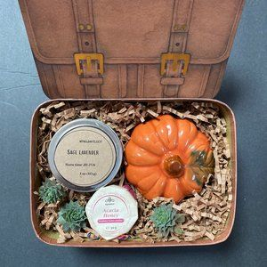 Candle Fall season gift box with succulent